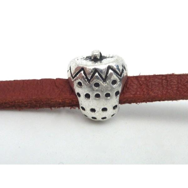 5 Perles Passant Fraise Intercalaire Gros Trou 4,5mm En Métal Argenté - Photo n°4