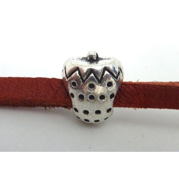 5 Perles Passant Fraise Intercalaire Gros Trou 4,5mm En Métal Argenté - Photo n°5