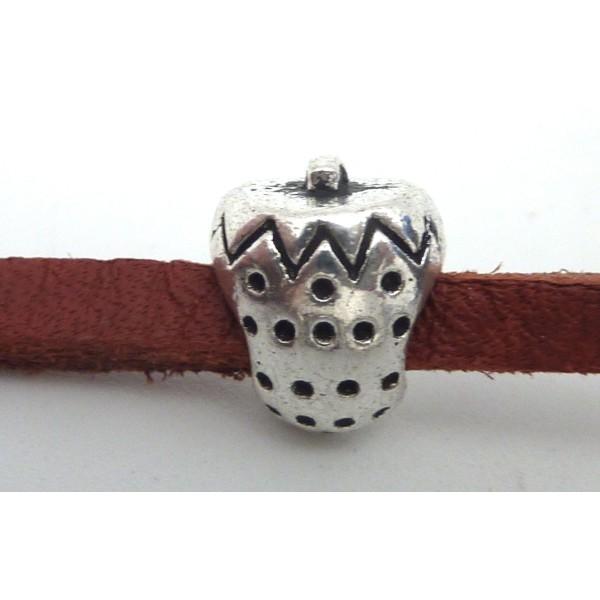 5 Perles Passant Fraise Intercalaire Gros Trou 4,5mm En Métal Argenté - Photo n°1