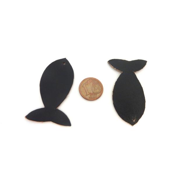 R-lot De 10 Poissons 4,5cm En Cuir De Couleur Noir - Photo n°2