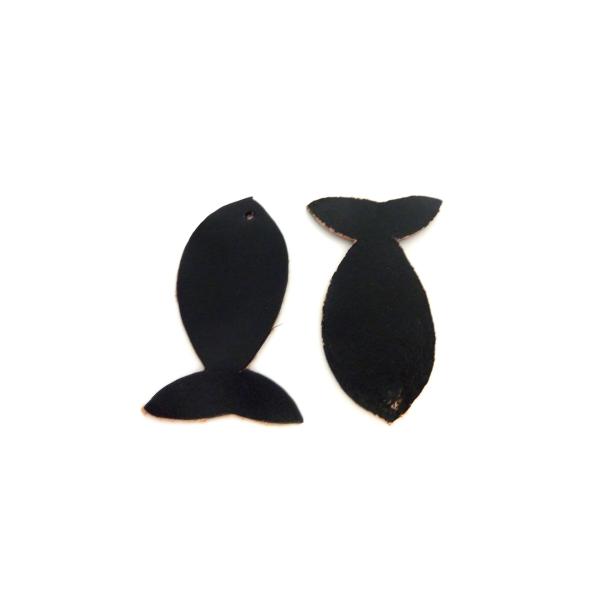 R-lot De 10 Poissons 4,5cm En Cuir De Couleur Noir - Photo n°1