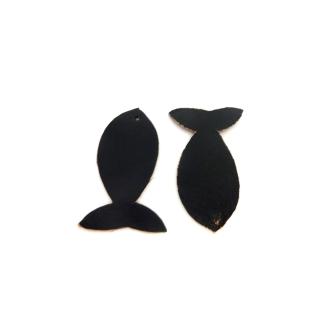 Lot De 10 Poissons 4,5cm En Cuir De Couleur Noir