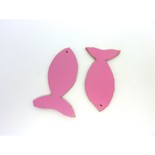 Lot De 10 Poissons 4,5cm En Cuir De Couleur Rose - Photo n°1