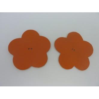 Lot De 10 Fleurs 6cm En Cuir De Couleur Orange