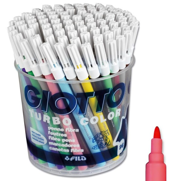 Feutre de coloriage Turbo color GIOTTO x 96 - Coffret école - Photo n°1