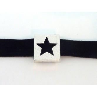 3 Perles Passant étoile Slide 13mm En Métal Argenté
