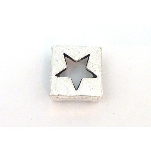 10 Perles Passant Étoile Carré 13mm En Métal Argenté - Photo n°2