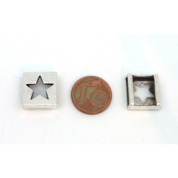 10 Perles Passant Étoile Carré 13mm En Métal Argenté - Photo n°3