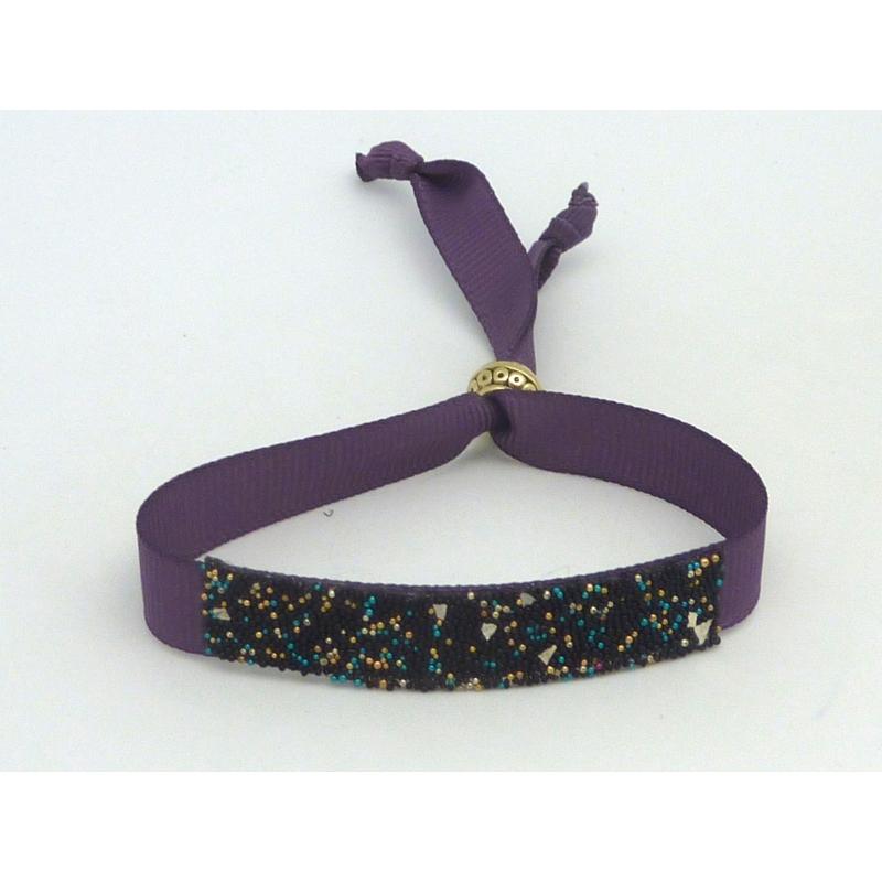 Kit de cr ation bracelet ruban ajustable violet et microbilles multicolore thermocollante fond - Bracelet perle et ruban ...