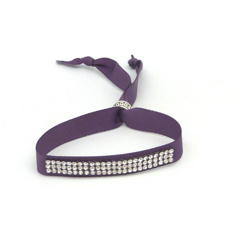 Kit de cr ation bracelet strass et ruban violet ajustable kit bijoux adulte creavea - Bracelet perle et ruban ...