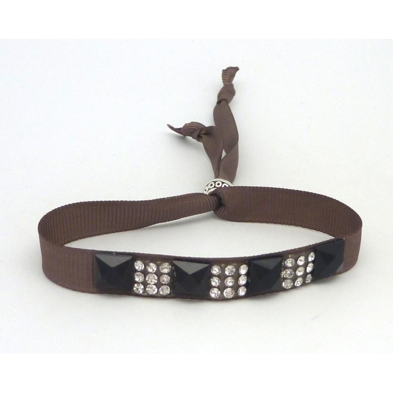 Kit de cr ation bracelet strass noir et argent et ruban fauve ajustable kit bijoux adulte - Bracelet perle et ruban ...
