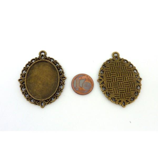 Support Cabochon Pendentif En Métal Bronze 44,6mm - Photo n°2