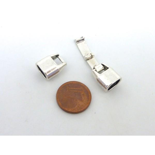 Fermoir Clip Pour Cuir Regaliz Fin 8mm X 5mm En Métal Argenté - Photo n°2