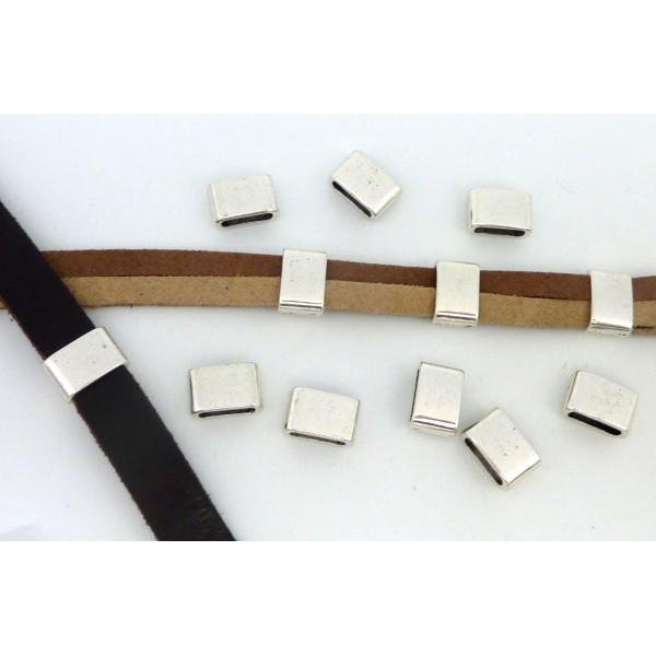 5 Perles Passant Rectangulaire 12,1mm En Métal Argenté - Photo n°2