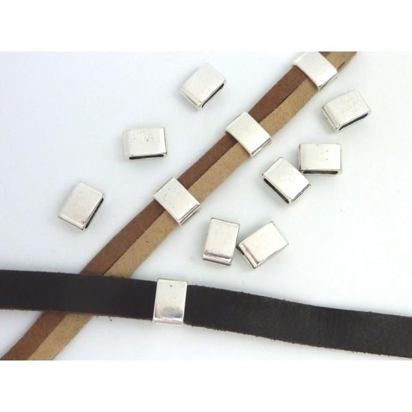 5 Perles Passant Rectangulaire 12,1mm En Métal Argenté - Photo n°3