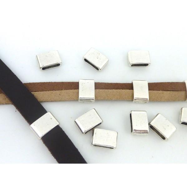 5 Perles Passant Rectangulaire 12,1mm En Métal Argenté - Photo n°4