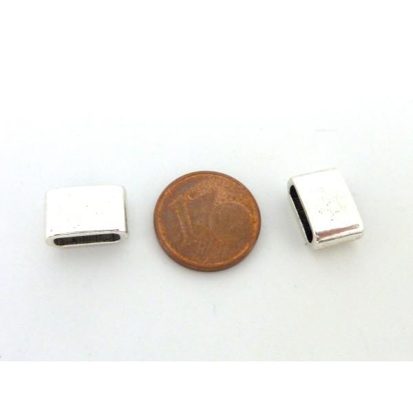 5 Perles Passant Rectangulaire 12,1mm En Métal Argenté - Photo n°5