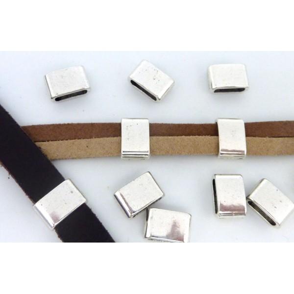5 Perles Passant Rectangulaire 12,1mm En Métal Argenté - Photo n°1