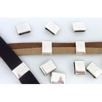 5 Perles Passant Rectangulaire 12,1mm En Métal Argenté