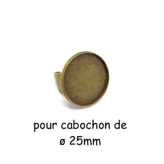 Support Bague Réglable Pour Cabochon Rond De 25mm En Métal De Couleur Bronze
