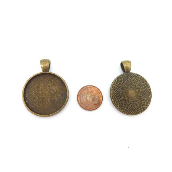 2 Supports Cabochon Pendentif Rond Pour Cabochon De 25mm En Métal De Couleur Bronze - Photo n°2