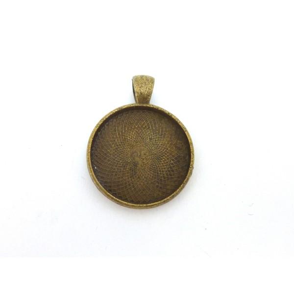 2 Supports Cabochon Pendentif Rond Pour Cabochon De 25mm En Métal De Couleur Bronze - Photo n°1