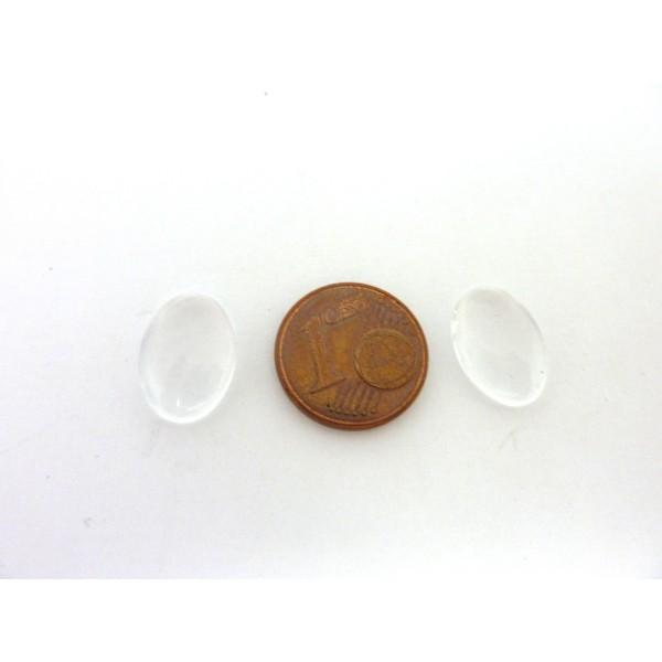 10 Cabochons Ovale 10mm X 14mm Loupe En Verre - Photo n°2