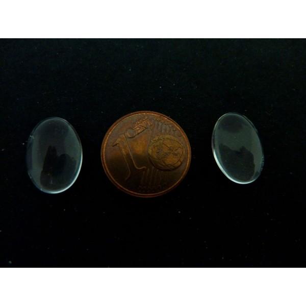 10 Cabochons Ovale 10mm X 14mm Loupe En Verre - Photo n°4