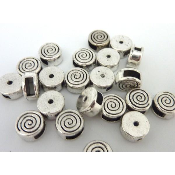 10 Perles Passant Intercalaire Ronde En Métal Argenté Gravé Spirale Pour Lanière Cuir De 5mm - Photo n°2