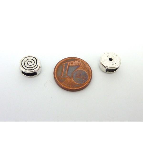 10 Perles Passant Intercalaire Ronde En Métal Argenté Gravé Spirale Pour Lanière Cuir De 5mm - Photo n°3