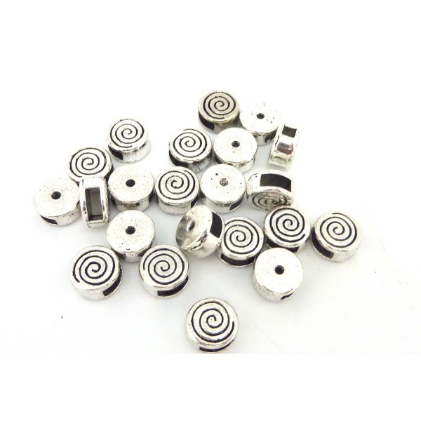10 Perles Passant Intercalaire Ronde En Métal Argenté Gravé Spirale Pour Lanière Cuir De 5mm - Photo n°1