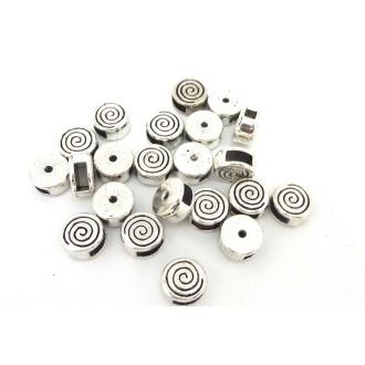 10 Perles Passant Intercalaire Ronde En Métal Argenté Gravé Spirale Pour Lanière Cuir De 5mm