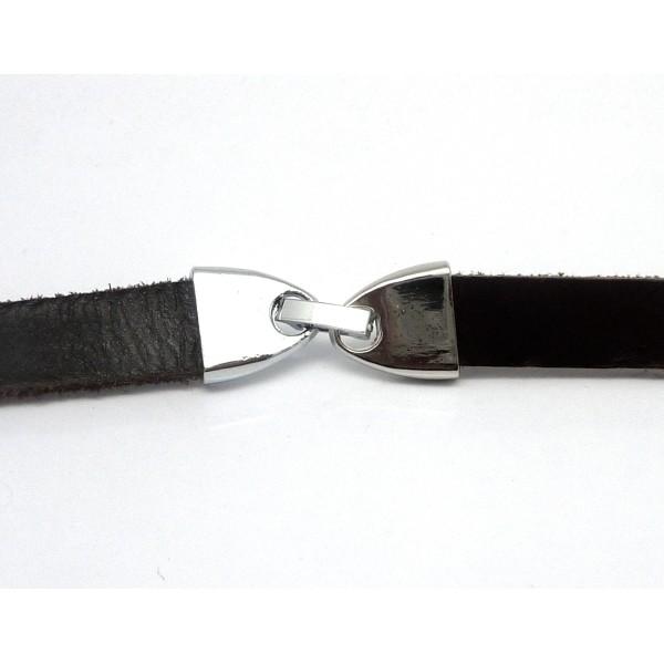 Fermoir Clip Pour Lanière Cuir De 9,5-10mm En Métal Argenté Effet Miroir - Photo n°3