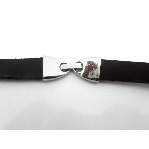 Fermoir Clip Pour Lanière Cuir De 9,5-10mm En Métal Argenté Effet Miroir - Photo n°4