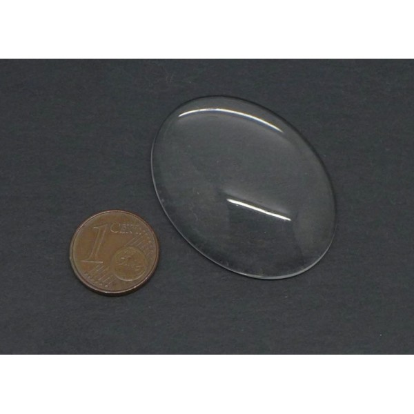 2 Cabochons Verre Ovale 40x30mm - Photo n°2