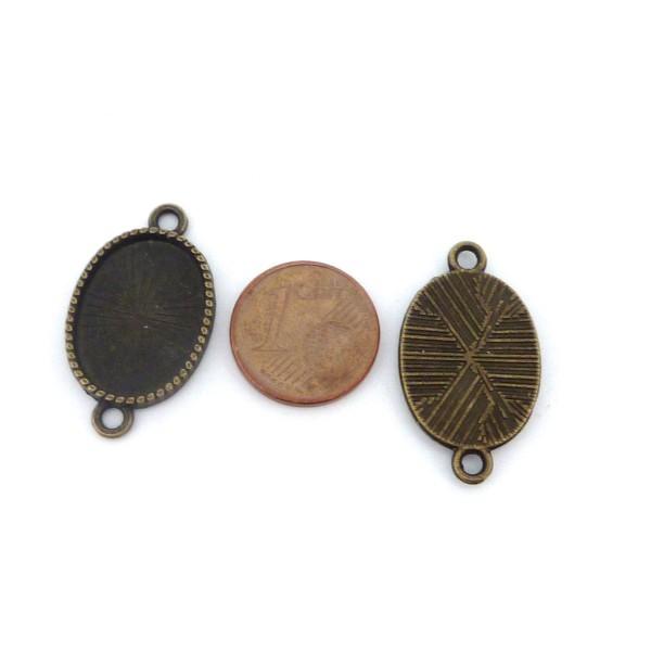 5 Supports Cabochon Connecteur Ovale Pour Cabochon 13x18mm En Métal Couleur Bronze - Photo n°2