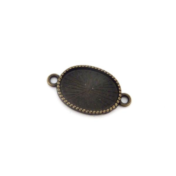 5 Supports Cabochon Connecteur Ovale Pour Cabochon 13x18mm En Métal Couleur Bronze - Photo n°1