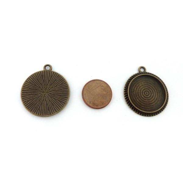 Lot De 4 Supports Cabochon Pendentif Pour Cabochon De 20mm En Métal De Couleur Bronze - Photo n°2