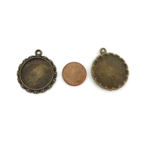 Lot De 3 Supports Cabochon Rosace Pendentif Pour Cabochon De 20mm En Métal De Couleur Bronze - Photo n°2