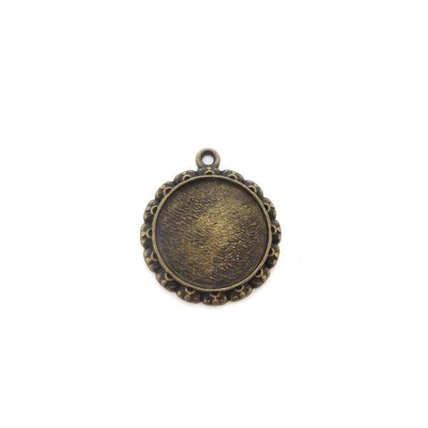 Lot De 3 Supports Cabochon Rosace Pendentif Pour Cabochon De 20mm En Métal De Couleur Bronze - Photo n°1