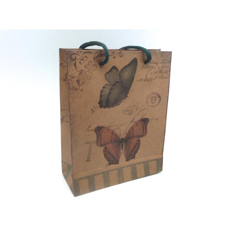 pochette cadeaux 19 x 15cm papillon fleur soufflet en papier pais sacs en kraft creavea. Black Bedroom Furniture Sets. Home Design Ideas