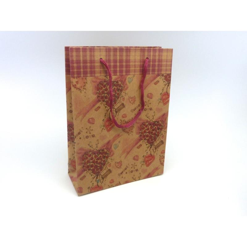 pochette cadeaux 20 x 14 5cm coeur et rose soufflet en papier pais sac en kraft creavea. Black Bedroom Furniture Sets. Home Design Ideas