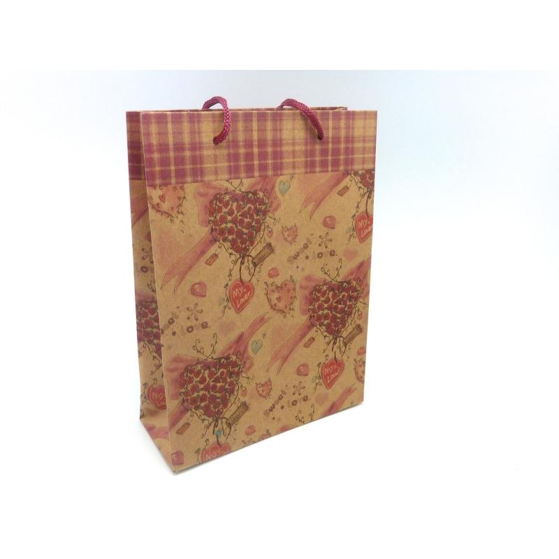 pochette cadeaux 20 x 14 5cm coeur et rose soufflet en papier pais sacs en kraft creavea. Black Bedroom Furniture Sets. Home Design Ideas
