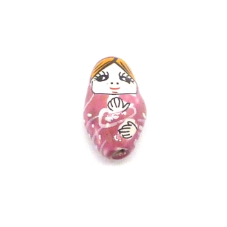 1 Perle Poupée Russe Matriochka En Porcelaine De Couleur Vieux Rose 23,6mm