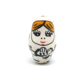 1 Perle Poupée Russe Matriochka En Porcelaine De Couleur Blanc Cassé 22,3mm