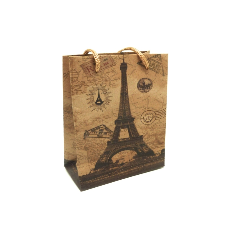 pochette cadeaux 11 5 x 14cm motif tour eiffel soufflet en papier pais sac en kraft creavea. Black Bedroom Furniture Sets. Home Design Ideas