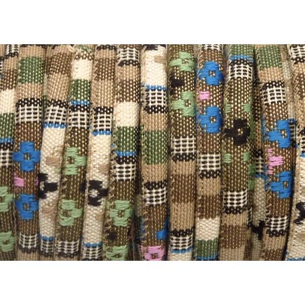 Cordon Ethnique En Coton Tissé 6mm - 50cm - Couleur Multicolore Dominante Beige - Photo n°2