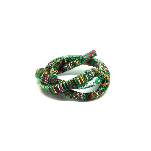 50cm Cordon Ethnique En Coton Tissé 6mm - Couleur Multicolore Dominante Vert - Photo n°2
