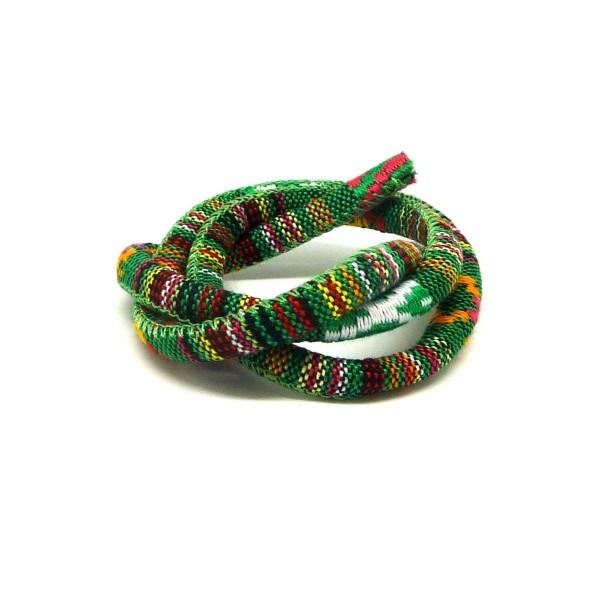 50cm Cordon Ethnique En Coton Tissé 6mm - Couleur Multicolore Dominante Vert - Photo n°1