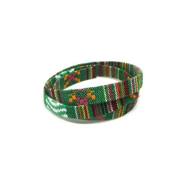 1m Lanière Ethnique En Coton Tissé 10mm - Couleur Multicolore Dominante Vert - Photo n°2